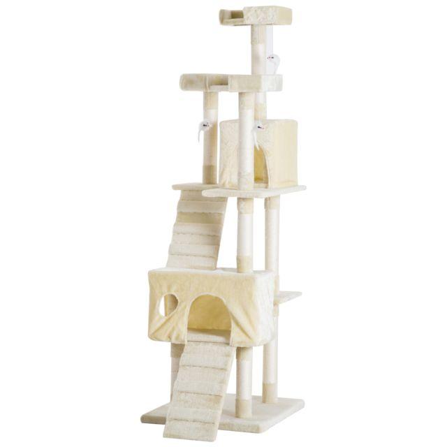 PAWHUT - Arbre à chats multi-équipements griffoirs grattoirs 3  plates-formes 2 niches 3b6d21f4e8ff