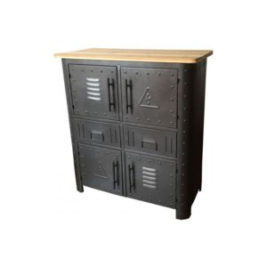 declikdeco buffet en m tal 4 portes et 2 tiroirs faber pas cher achat vente buffets. Black Bedroom Furniture Sets. Home Design Ideas