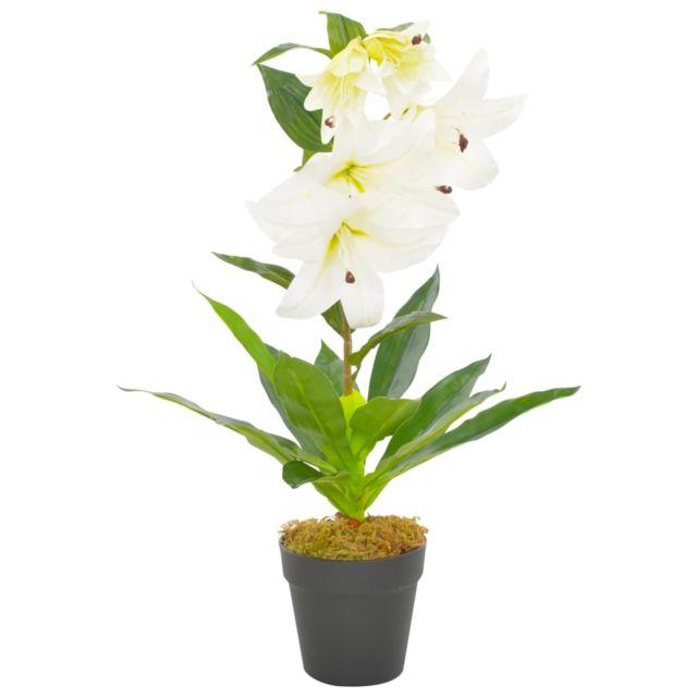 Vidaxl Plante artificielle Lys avec pot Blanc 65 cm