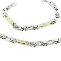 Metronhomme - Parure en Acier Argenté Doré Collier Chaine Bracelet Homme M H 1183
