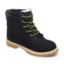 Lamodeuse - Boots rangers fourrées simili cuir noir