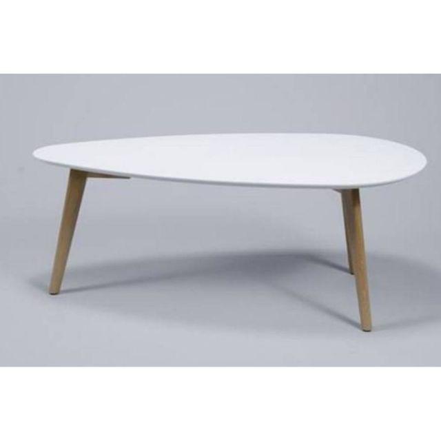 Inside 75 Table basse Mignone design blanche avec piétement en chêne massif