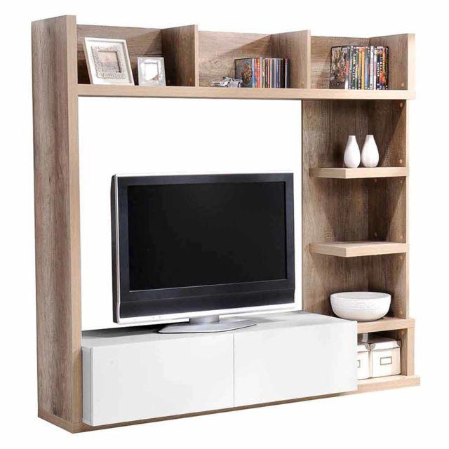 Meuble Tv Haut En Bois Avec Tiroirs Et Niches L159cm H149cm Leader