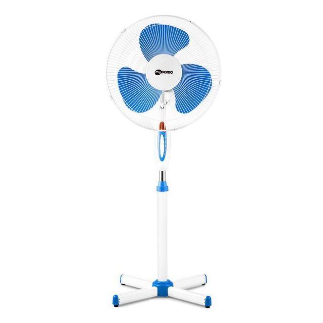 Mydomo Ventilateur sur pied blanc 45 Watts 3 vitesses oscillant diam 40 cm
