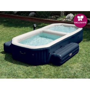 intex spa gonflable purespa 4 places et piscine bulles bleu nuit pas cher achat vente. Black Bedroom Furniture Sets. Home Design Ideas
