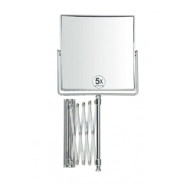 Miroir Grossissant Salle De Bain wadiga - miroir grossissant x5, mural carré sur bras extensible