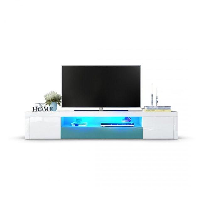 Mpc Meuble tv moderne laqué blanc et turquoise 200 cm avec led