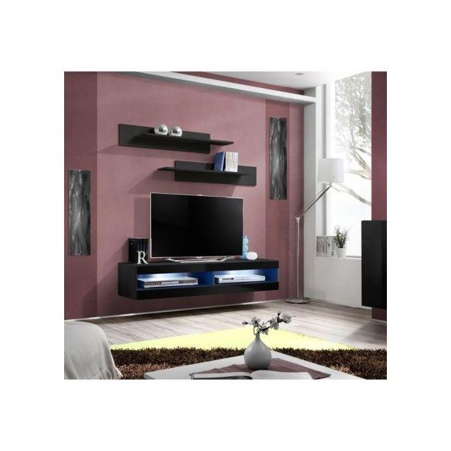 Price Factory - Meuble Tv Fly design, coloris noir brillant. Meuble ...