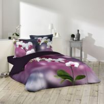 Douceur D'INTERIEUR - Housse de couette Orchideis 240x260cm avec taies d'oreillers 100% coton