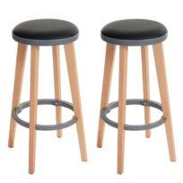Decoshop26 - Lot de 2 tabourets de bar avec repose pieds noir et gris Tdb04014
