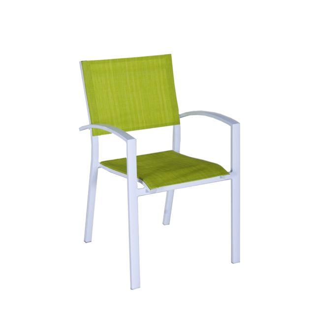 Structure en aluminium, coloris blanc. Assise et dossier en textilène, coloris anis