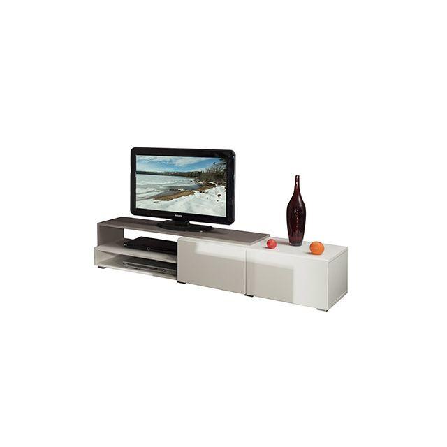 Meuble tv 2 tiroirs blanc taupe 168 cm