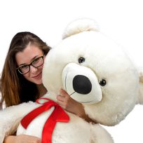 Justdeco - Superbe Grand Nounours Ours Peluche Géant Ourson 100Cm diag Xxl Teddy Bear Blanc neuf