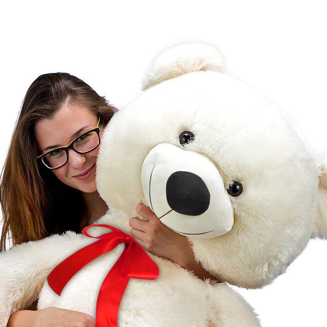 JUSTDECO - Superbe Grand Nounours Ours Peluche Géant Ourson 100Cm diag Xxl Teddy Bear Blanc neuf