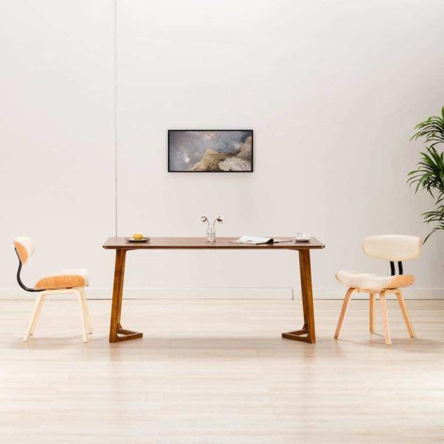 Superbe Fauteuils et chaises ensemble Oslo Chaises de salle à manger 2 pcs Crème Bois courbé et similicuir