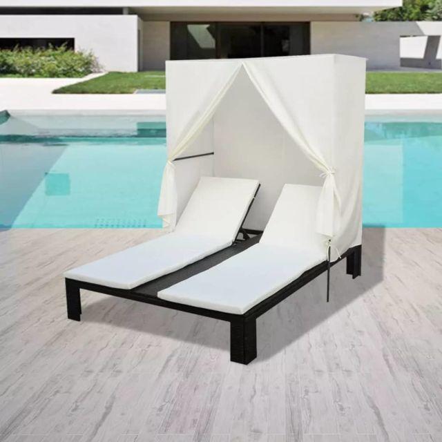 vidaxl chaise longue double avec coussin noir r sine. Black Bedroom Furniture Sets. Home Design Ideas