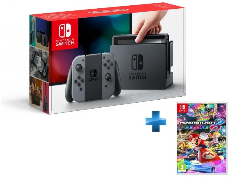 Console Switch avec une paire de Joy-Con Gris + Mario Kart 8 Deluxe
