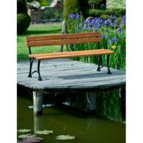 Banc de jardin en bois couleur teck et aluminium 150cm ou 180cm - Sans  accoudoirs