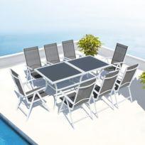 concept usine toscana salon de jardin aluminium 8 places blanc en textilne - Ensemble Table De Jardin Et Chaises