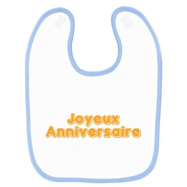 Mygoodprice Bavoir Bebe Imprime Joyeux Anniversaire Bleu Pas