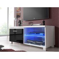 Meuble bas Tv Led, Salon-Séjour, Blanc et Noir Laqué, 100 x 40 x 42 cm