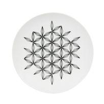 Novastyl - Assiette plate en porcelaine D.27cm motif floral graphique - Lot de 6 pièces Badiane