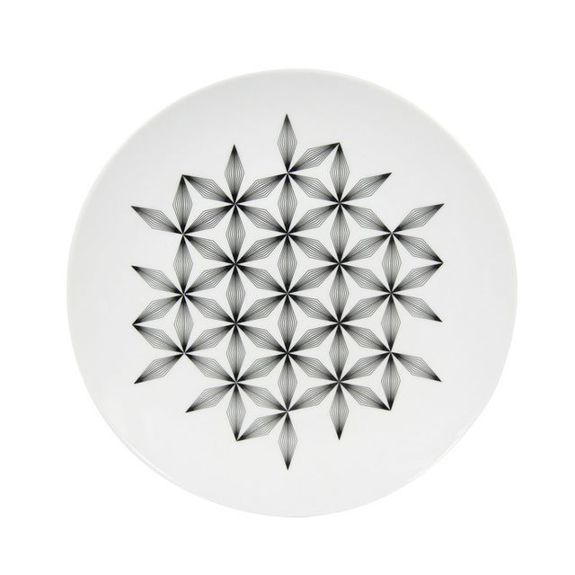Novastyl Assiette plate en porcelaine D.27cm motif floral graphique - Lot de 6 pièces Badiane