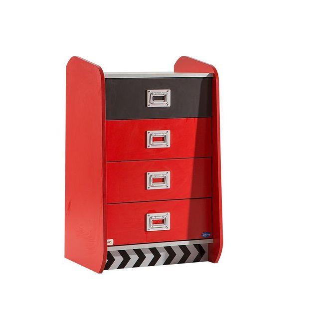 Comforium Commode à 4 tiroirs coloris rouge et noir Disney Cars
