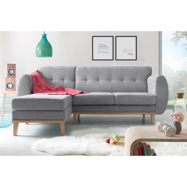 BOBOCHIC Canapé d'angle VIKING Gris Angle gauche