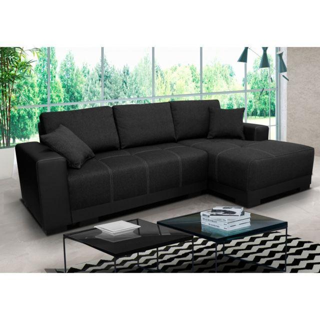 Rocambolesk Canapé Lido noir droit sofa divan
