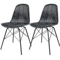 rendez vous deco chaise tiptur en rsine tresse noire lot de 2 - Chaise En Resine Tressee