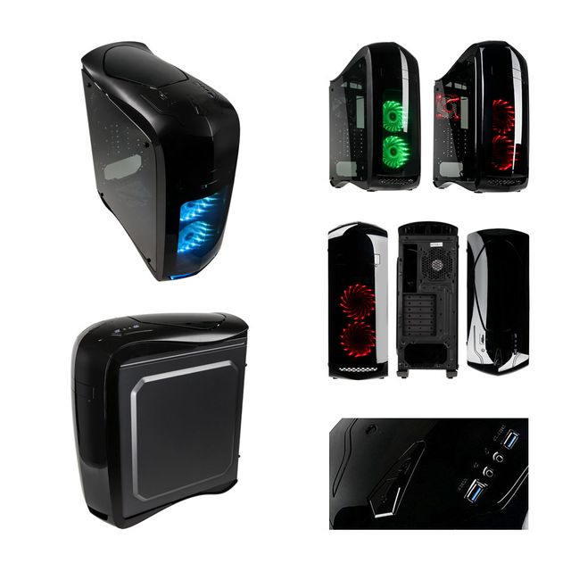 """Pack complet Pc Gamer Ultimate Intel i7-7700K 4x 4.20Ghz max 4.5Ghz Geforce Gtx 1080 8Go, 32 Go Ram Ddr4 3000Mhz, 250 Go Ssd, 2 To Hdd, Usb 3.1, Wifi, CardReader, Hdmi2.0. Unité centrale avec moniteur Tft-led 23.6"""", clavier & souris small"""