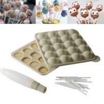 Kitchen Artist - Kit moule cakepops bâtonnets et pinceau