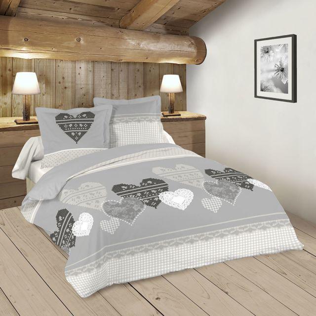 sans marque housse de couette 220 x 240 cm taies chaleur coeur esprit de montagne. Black Bedroom Furniture Sets. Home Design Ideas