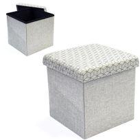 Ego Design - Coffre pouf de rangement pliable Arty tissu beige