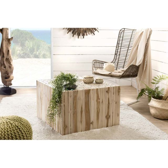 MACABANE Table basse carrée nature branches Teck