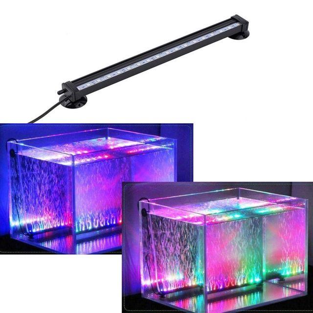 Aquarium Eclairage Submersible Lumière Bulles Air 18 LED RGB Télécommandé