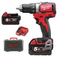 Milwaukee - Perceuse Visseuse M18 BLDD-502C 18V li-ion 5Ah + 2 Batteries + Chargeur + Coffret- 4933448458