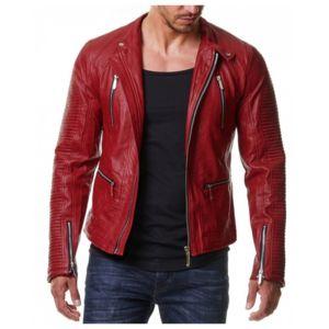 Veste cuir rouge homme pas cher
