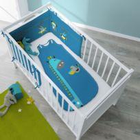 Selene Et Gaia - Turbulette girafe bleu pour bébé en coton - Cocoloco Couleur - Imprimé, Taille - Turbulette 6 à 36 mois / 60 x 100 cm