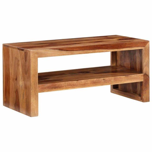 Helloshop26 Meuble télé buffet tv télévision design pratique bois massif de sesham 2502027
