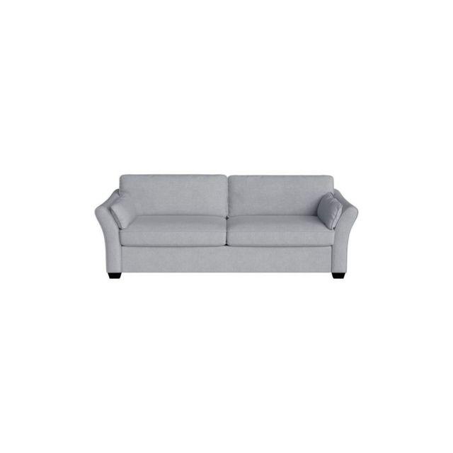 Leopold-vienna Rodier Interieurs Canape Droit Fixe 3 Places Leopold - Tissu Gris - Classique - L 202 X P 97 Cm