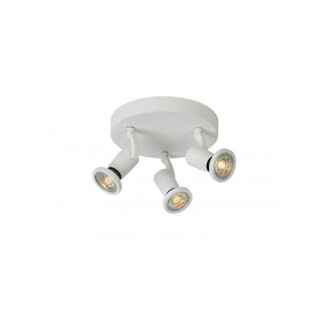 Lucide Jaster-led - Spot Plafond - D20 cm - Led - Gu10 - 3x5W 2700K - Blanc