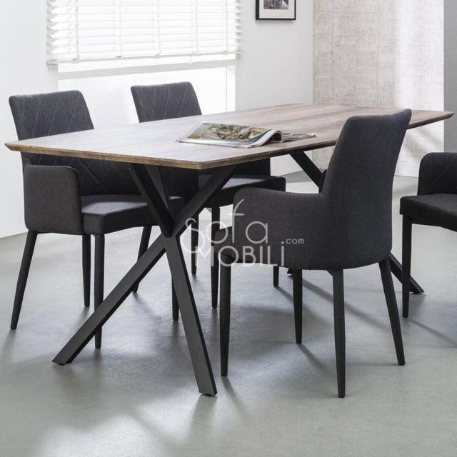 Sofamobili Table à manger couleur bois Margo