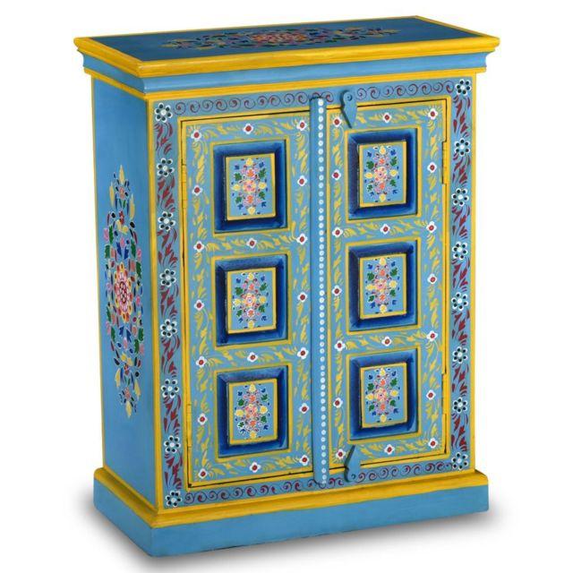 Vidaxl Buffet Bois Massif de Manguier Peinture Manuelle Turquoise Placard