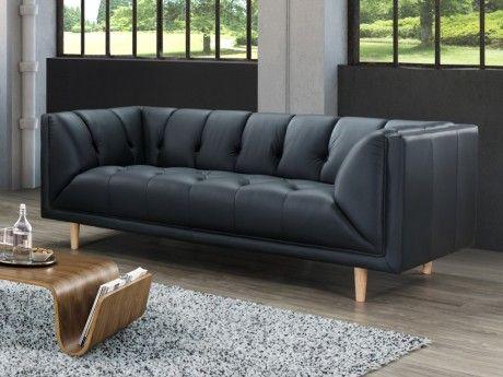 marque generique canap 3 places 100 cuir de buffle pleine fleur murphy noir achat vente. Black Bedroom Furniture Sets. Home Design Ideas