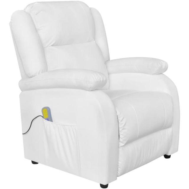 Magnifique Fauteuils famille Pékin Fauteuil de massage électrique Cuir artificiel Réglable Blanc