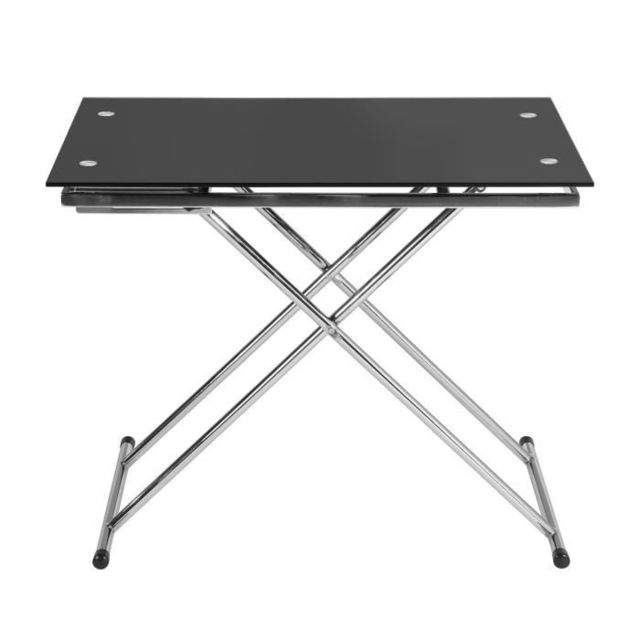 TABLE BASSE UP & DOWN Table basse relevable en verre trempé noir pied chromé - L 110 cm