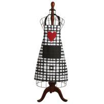 AUBRY GASPARD - Tablier de cuisine en coton Coeur noir blanc rouge