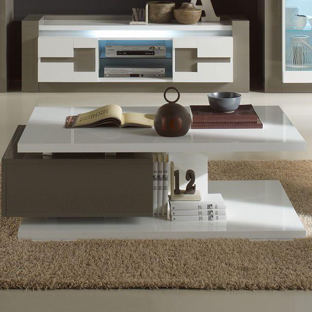 Nouvomeuble Table basse 120 cm blanche et grise design Rimio